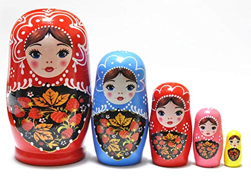 - FinerMe Fine Work Russian Nesting Dolls Matryoshka Wood Stacking Nested Set 5 Pieces Handmade Toys for Children Kids Christmas Birthday Home Decoration (Color D)