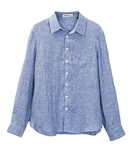 Amazhiyu Womens Linen Stripe Button Down Shirt Casual Basic Long Sleeves Blouse Pockets (Denim Blue, X-Large) ()