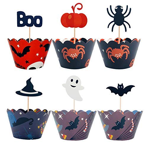SUNHE 24 Pieces Halloween Style Cupcake Wrappers and 24 Pieces Halloween Party Cupcake Toppers Picks Mini Pumpkin Spider Ghost Hat Bats Boo for Halloween Party Cake -