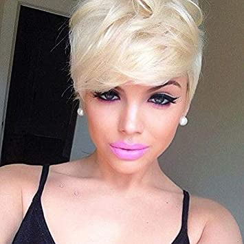 Naseily Short Blonde Synthetic Wig Natural
