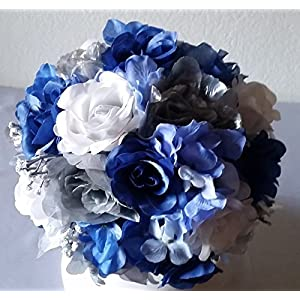 Royal Blue Silver White Rose Hydrangea Bridal Wedding Bouquet & Boutonniere 2