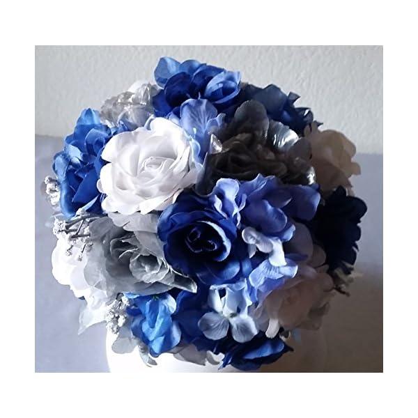 Royal Blue Silver White Rose Hydrangea Bridal Wedding Bouquet & Boutonniere