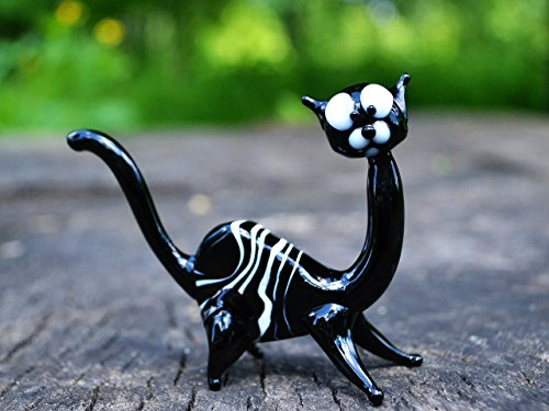 Glass Figurine - #1 Best Glass Cat Figurine - Gift For Girls - Black Statue - 3 Inches Birthday Gift - Limited Edition - Collectible Sculpture