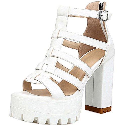 TAOFFEN Women Fashion Chunky Heel Sandals White-9 39JiYvw9