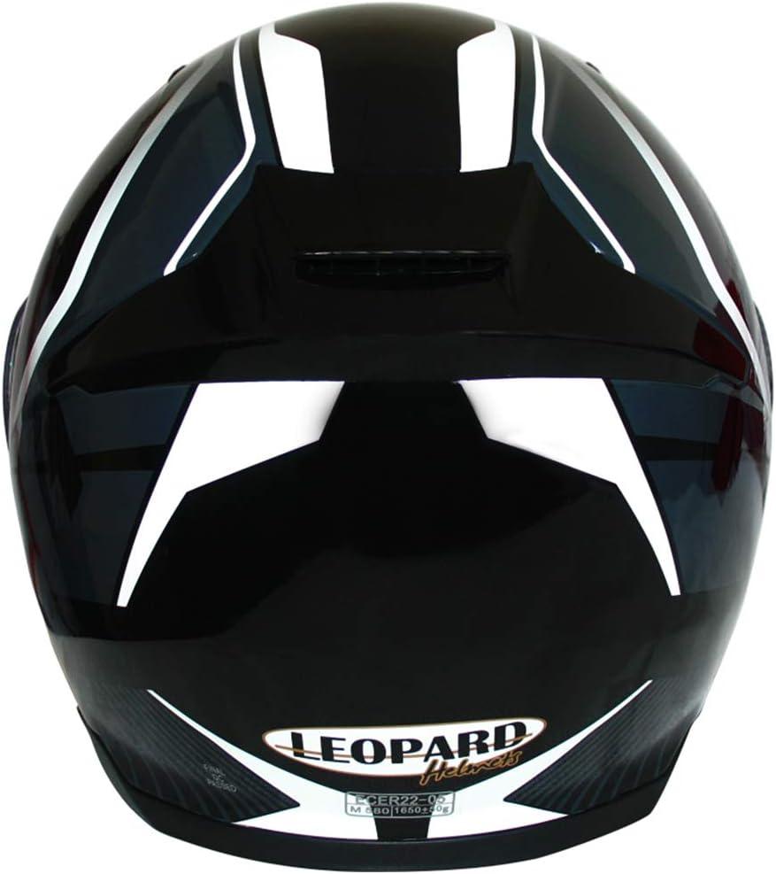 Bleu//Gris//Noir XL 61-62cm Leopard LEO-888 Casque Moto Modulable Double Visi/ère ECER Homologu/é Homme Femme