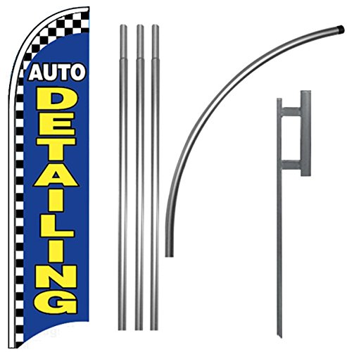 New AUTO DETAILING - Windless Feather Swooper Flag Banner Sign Kit bb for sale