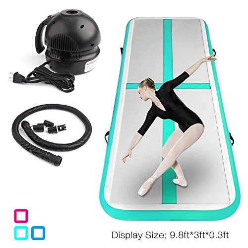 ShenCBnag Inflatable Gymnastics Air Track 9.8/13/16/19FT Length Airtrack Tumbling Mat Flooring Mat with Electric Air Pump for Gymnastic/Yoga/Water Floating/Camping Training Mat (Green, 9.84)