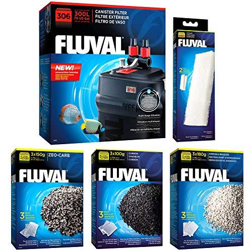 Fluval 306 A212 Filter w/Foam, Carbon, Ammonia Remover & Zeo-Carb 3mo (Hagen Fluval Ammonia Remover)