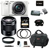 Sony Alpha a6000 (ILCE6000LW ILCE-6000LW ILCE6000L/W) Interchangeable Lens Camera with 16-50mm Power Zoom Lens (White) + Sony SEL50F18B 50mm f/1.8 Mid-Range Lens (black) + Sony 32GB SDHC/SDXC Class 10 Memory Card + Card Reader + Camera Bag + Lens Filters + Extra Battery + Accessory Bundle