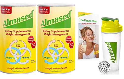 Almased Meal Replacement Shake – Plant Based Protein Powder – Shake for Weight Management 2 pack Blender Bottle Shaker and Diet Recipe Book