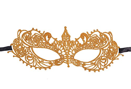 AshopZ Women's Classic Goddess Venetian Masquerade Lace Eye Mask, Gold ()