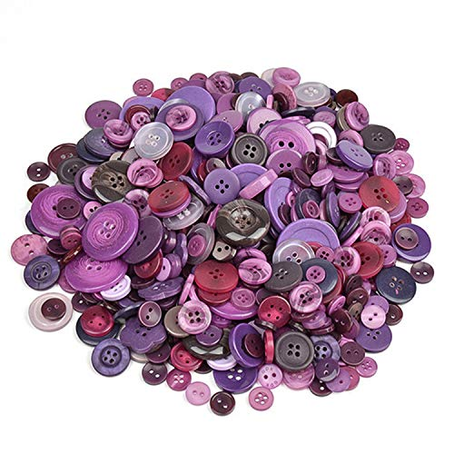 koboome 600 Pcs Assorted Sizes Resin Buttons 2 and 4 Holes Round Craft Buttons Fit Sewing, Scrapbooking, Kids DIY Handmade Decorations (Purple)