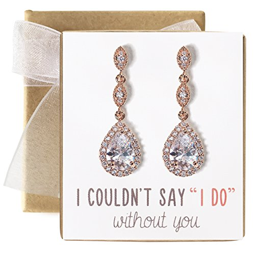 A+O Bridesmaid Earrings, Teardrop Cubic Zirconia Crystal Earrings in Silver, Gold, Rose Gold