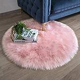 Ashler Faux Fur Pink Round Area Rug Indoor Ultra Soft Fluffy Bedroom Floor Sofa Living Room 3 x 3 Feet
