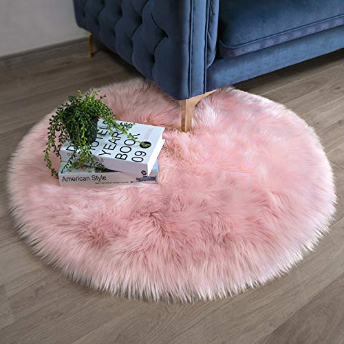 (Ashler Faux Fur Pink Round Area Rug Indoor Ultra Soft Fluffy Bedroom Floor Sofa Living Room 3 x 3 Feet )