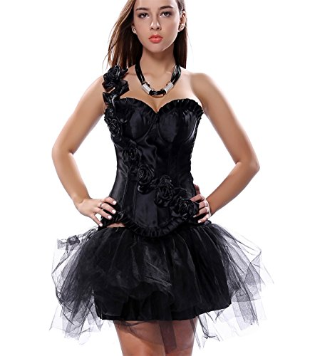 Rosfajiama Mujer Fashion corsé de Palacio de boda de plástico hueso con tutú negro