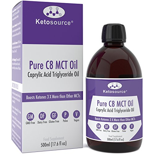 Premium C8 MCT Oil | Boosts Ketones 3X More Than Other MCTs | Highest Purity C8 MCT Available 99.8% | Paleo & Vegan Friendly | Gluten Free | Pure Caprylic Acid | Ketosource
