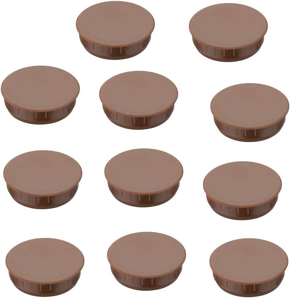 Gedotec RAL 8014 Lot de 100 cache-vis ronds en plastique pour meubles de 12 mm de diam/ètre Marron