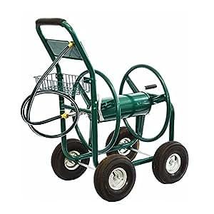 Rueda Carrito para almacenamiento carrete de manguera de agua con capacidad para hasta 300pies uso en jardín, al aire libre, garaje o industrial