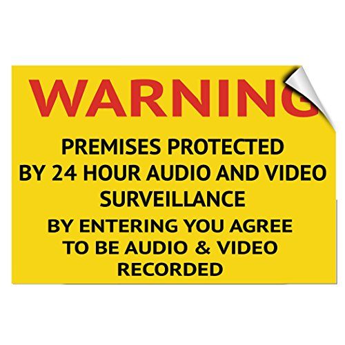 Warning 24 Hour Audio and Video Surveillance Entrance Label Decal Sticker 10 Inches X 7 Inches from Fastasticdeals