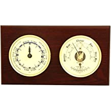Brass Tide Clock & Barometer/Thermometer on Mahogany Weather Station