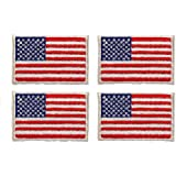 ID #1048 Lot of 4 US USA American Flag Embroidered Iron On Applique Patch