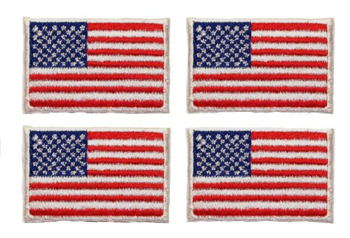 ID #1048 Lot of 4 US USA American Flag Embroidered Iron On A
