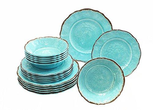 Le Cadeaux 18 Piece Luxury Melamine Dinnerware Set, Service for 6 (Antiqua Turquoise)