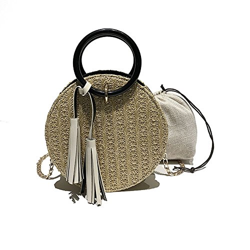 small straw Messenger White shoulder bag Fashion bag simple BULABULAkkk yellow package chain gqUx5
