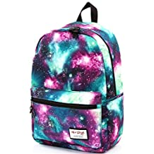 HotStyle TrendyMax Womens School Boys Girls Galaxy Patterned 600D Polyester Backpack (green)