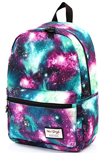 TRENDYMAX Galaxy Backpack Cute for School | 16'x12'x6' | Holds 15-inch Laptop | Green