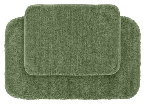 Garland Rug 2-Piece Traditional Nylon Washable Bathroom Rug Set, Deep Fern (Ferns Rug Brown)