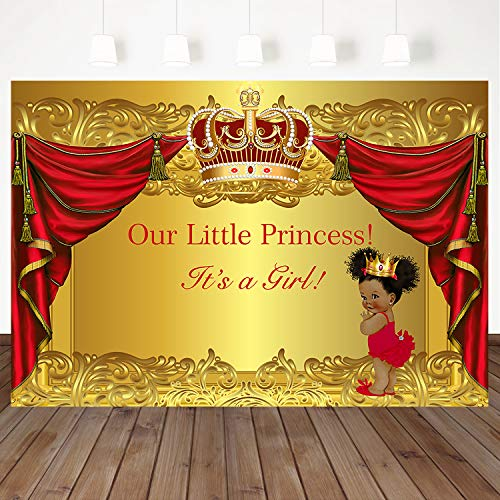 Mehofoto Royal Princess Baby Shower Backdrop Red Curtain