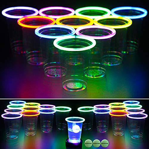 GLOWPONG All Mixed Up Glow-in-The-Dark Beer Pong Game Set for Indoor Outdoor Nighttime Competitive Fun, 24 Multi-Color Glowing Cups, 4 Glowing Balls, 1 Ball Charging Unit Makes Every Shot Glow