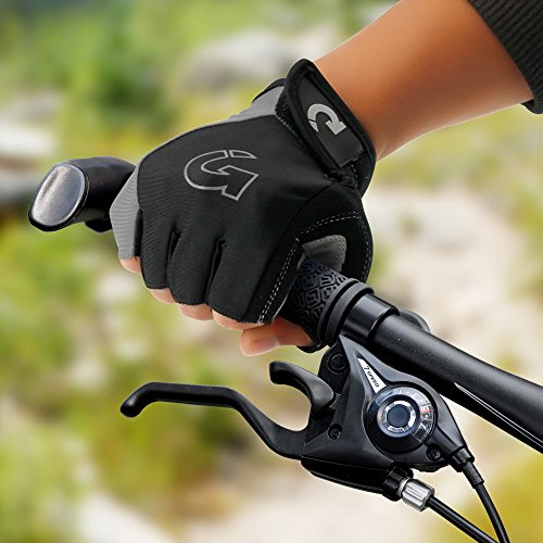 "GEARONIC TM New Fashion Cycling Bike Bicycle Motorcycle Shockproof Outdoor Sports Half Finger Short Gloves - Gray ""M"""