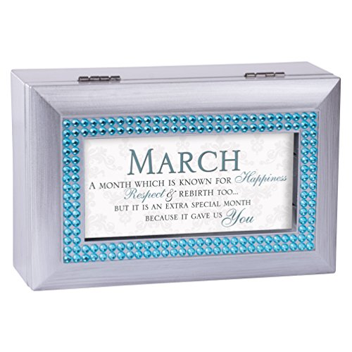 March Happiness Special You Birthstone Silver Petite Jewelry Music Box Plays Tune You are My (March Birthstone)