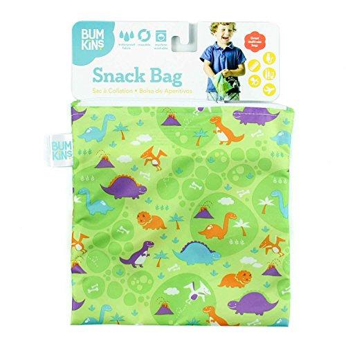 Bumkins Reusable Snack Bag Large, Gray Chevron Dinos