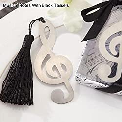 Fashion Snowflake Butterfly Stainless Steel Tassel Bookmark Wedding Favor Gift - Musical Notes With Black Tassels Ameesi