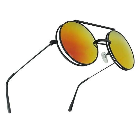 00e8818552 Limited Edition Red Round Chic Boho Hippie Hipster Black Flip Up Sunglasses Non  Prescription Clear