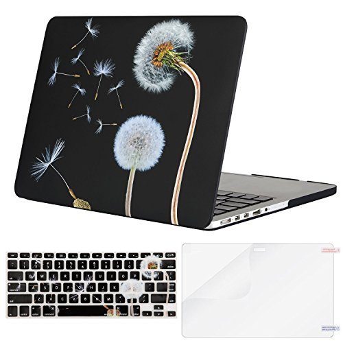 MOSISO Plastic Pattern Hard Case Only Compatible MacBook Pro (W/O USB-C) Retina 13 Inch (A1502/A1425)(W/O CD-ROM) Release 2015/2014/2013/end 2012 & Keyboard Cover & Screen Protector, Black Dandelion