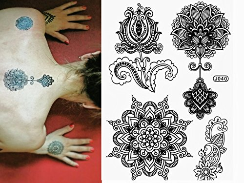 Black henna body paints temporary tattoo designs pack of for Fake tattoos amazon