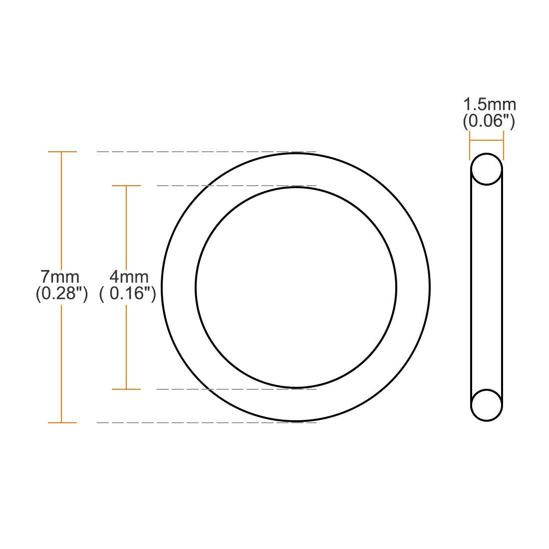4mm Inner Diameter 7mm OD 1.5mm Width Seal Gasket Green 10Pcs uxcell Fluorine Rubber O Rings