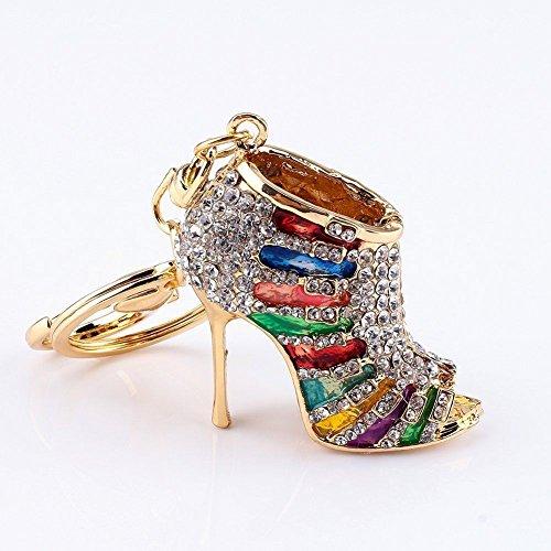Axmerdal Crystal Rhinestone Diamante High Heel Shoe Decoration Chain for Phone Car Bag Key Ring keychain Charm Gift - Perfect for Women Ladies Girls Phone Key Bag Multi-colored