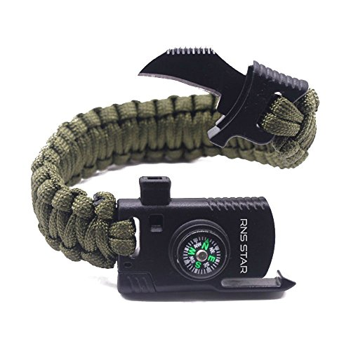 Usa Survival Knife (Best Outdoor Paracord Survival Bracelet 500 LB - Hiking Gear Travelling Camping Gear Kit - Parachute Rope Bracelet - Compass,Flint Stone,Fire Sticks, Knife, Whistle By RNS STAR)