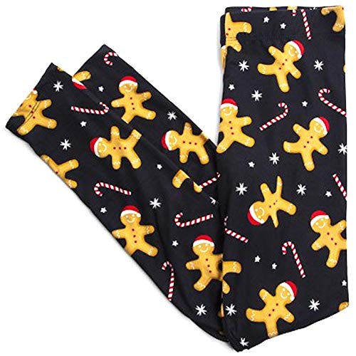 5 Style Sweet Gingerbread Man Candy Cane Leggings Womens Juniors Black (XL)