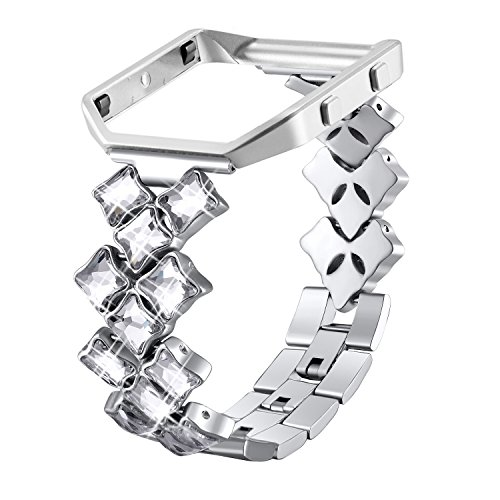el Bands with Frame for Fitbit Blaze, Diamond Bling Replacement Accessory Straps for Women Silver with Rhinestone ()