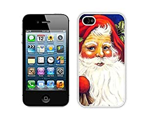 Iphone 4S Case,Red Christmas Hat Santa Claus Durability Apple Iphone 4 4s Silicone White Case