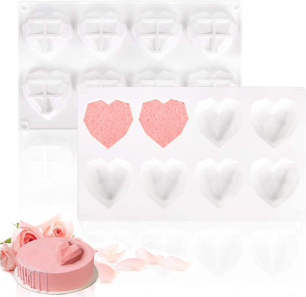 Fya Chocolate Mold, Special 3D Diamond Heart Love Shape Cake Mould, 100% Food-Grade Silicone Mold, Non-Stick Easy Release Mold for Cake Decoration, Candy, Ice Cube