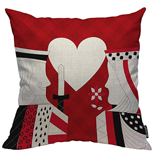- Mugod Poker Decorative Pillow Case Casino Poker Queen and King Heart Card Game Red Checkered Throw Pillow Cover Home Decor Cotton Linen Square Cushion Cover for Couch Bed Sofa 18x18 Inch