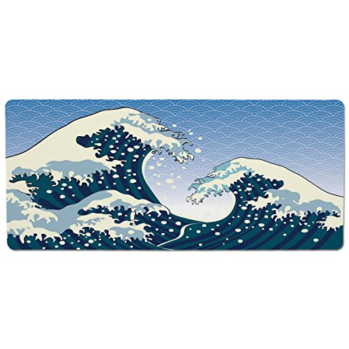 Mouse Pad Unique Custom Printed Mousepad [ Japanese Wave,Far Eastern Painting Oceanic Storm Theme Tsunami Wind Water Artwork,Teal Blue White ] Stitched Edge Non Slip Rubber ()